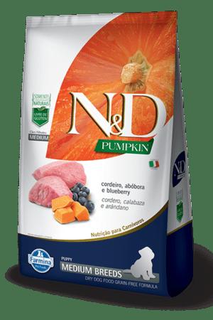 N&D Pumpkin Canine Puppy Medium Cordero,Calabaza y Arandano 2,5 Kg