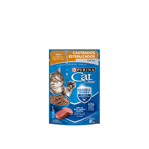 Cat Chow Pouch Esterilizados Carne 85 gr