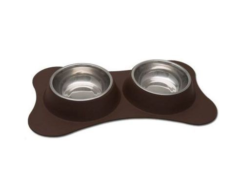 LOVING PETS Comedero Doble Flexible Chocolate